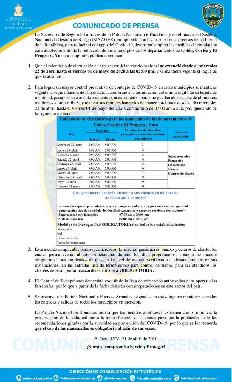 Secretaría de Seguridad endurece medidas Colón, Cortés y El Progreso, Yoro