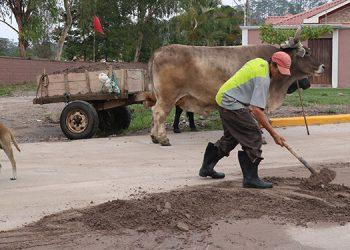 Armando se dedica a recoger arena en las calles de Siguatepeque y así venderla para poder comprar sus alimentos.