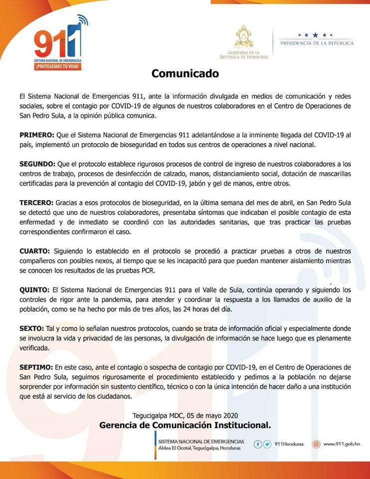 Empleado del 911 en San Pedro Sula resulta positivo al COVID-19
