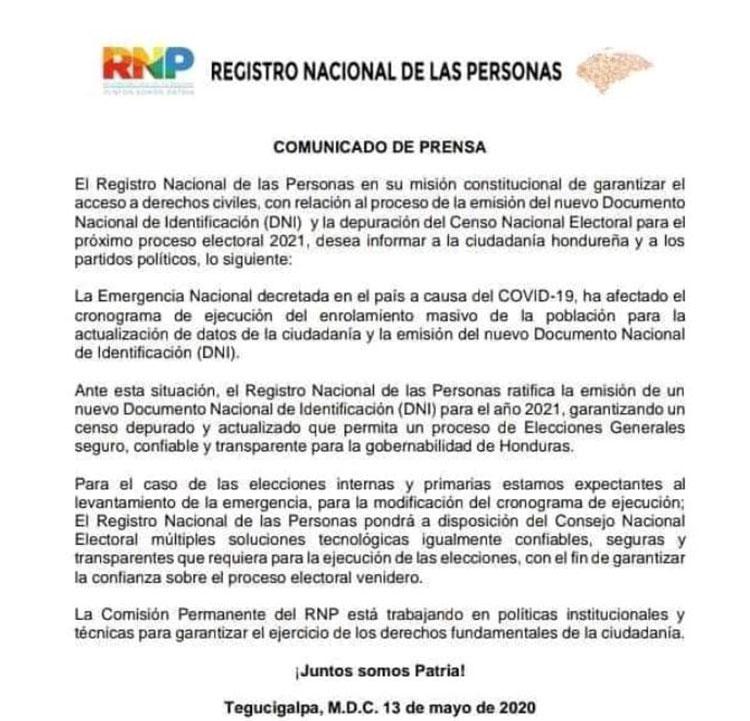 RNP descarta nueva identidad para primarias del 2021