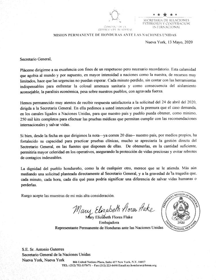Urgen pruebas de COVID-19 para Honduras recuerda embajadora a la ONU en carta al Secretario General