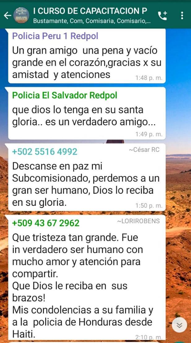 Policías de América se solidarizan por la muerte del Comisionado Póstumo Jaime Barahona