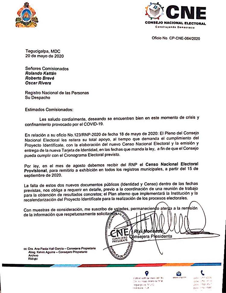 CNE emplaza al RNP por censo y nueva identidad