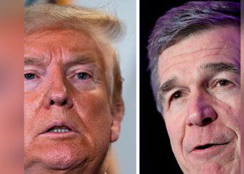 Trump y Roy Cooper, gobernador de Carolina del Norte.