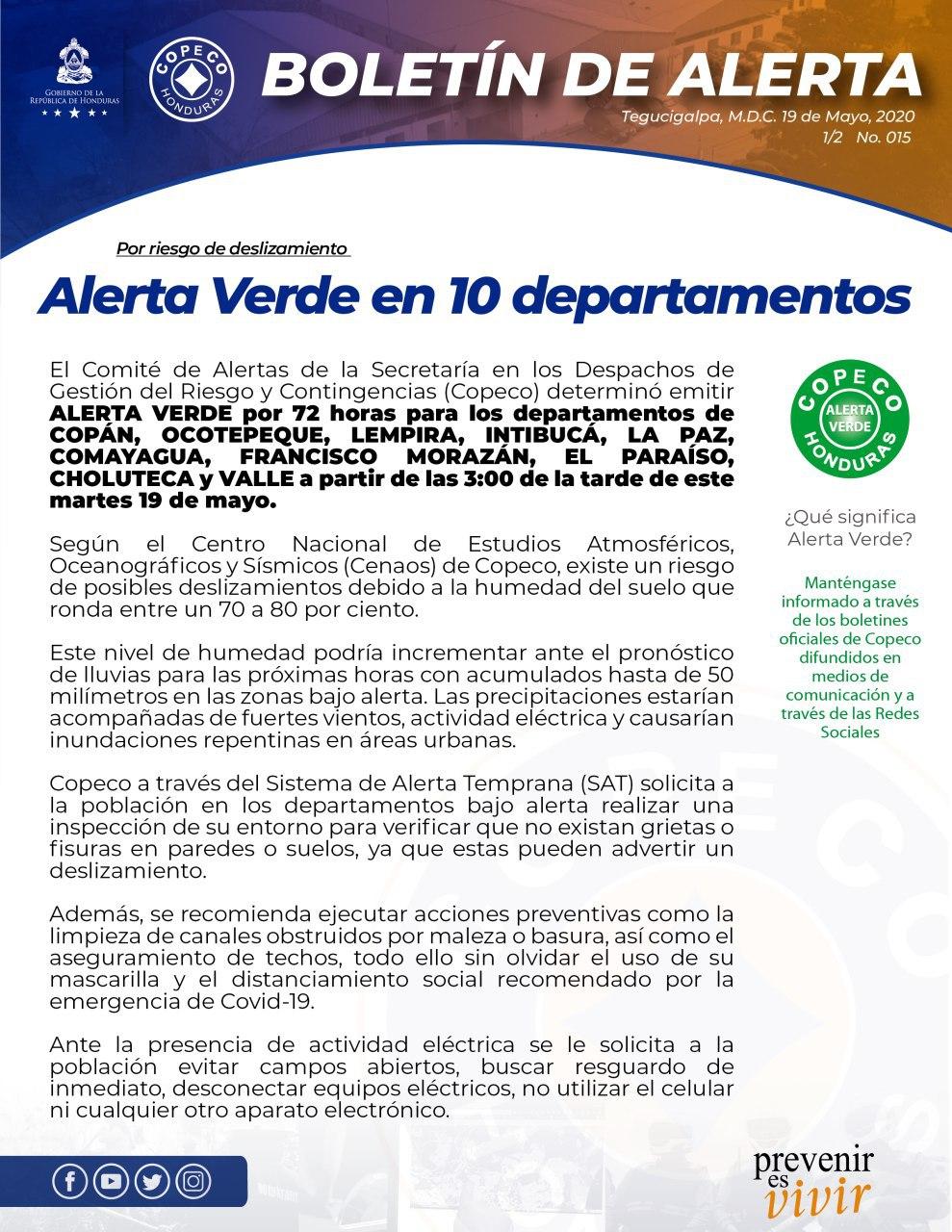 Alerta verde en 10 departamentos a causa de lluvias