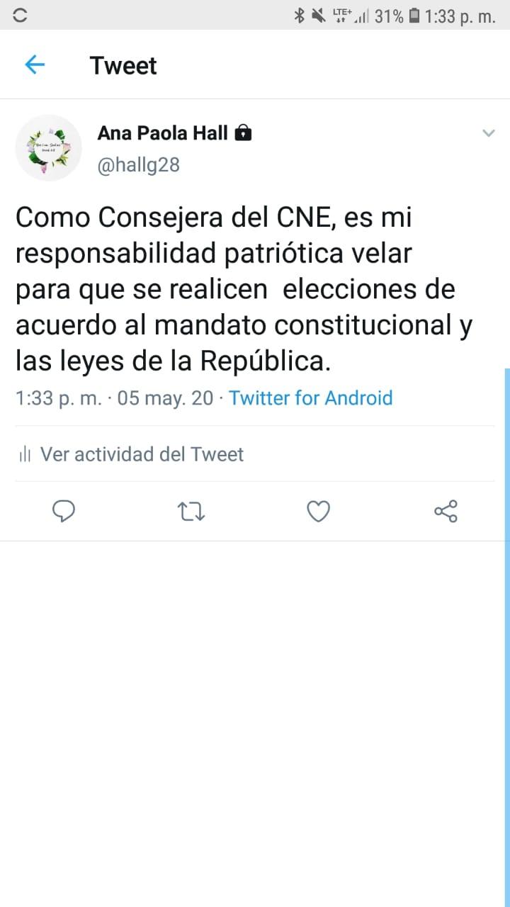 Magistrada del CNE asegura que elecciones no se retrasarán