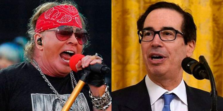 Líder de Guns N' Roses y secretario del Tesoro de EEUU protagonizan feroz pelea en redes