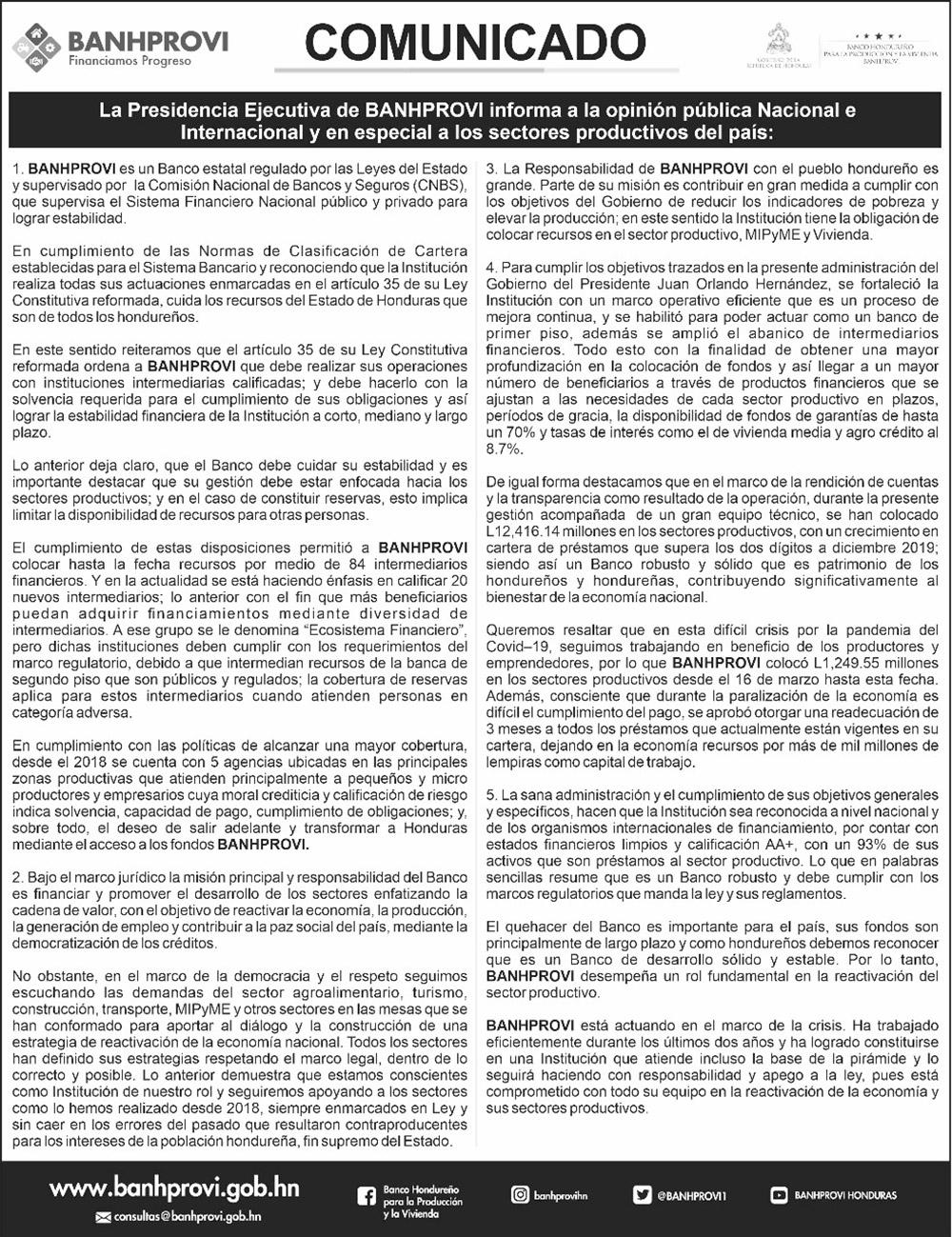 Banhprovi reitera compromiso de cuidar los recursos de Honduras durante la pandemia