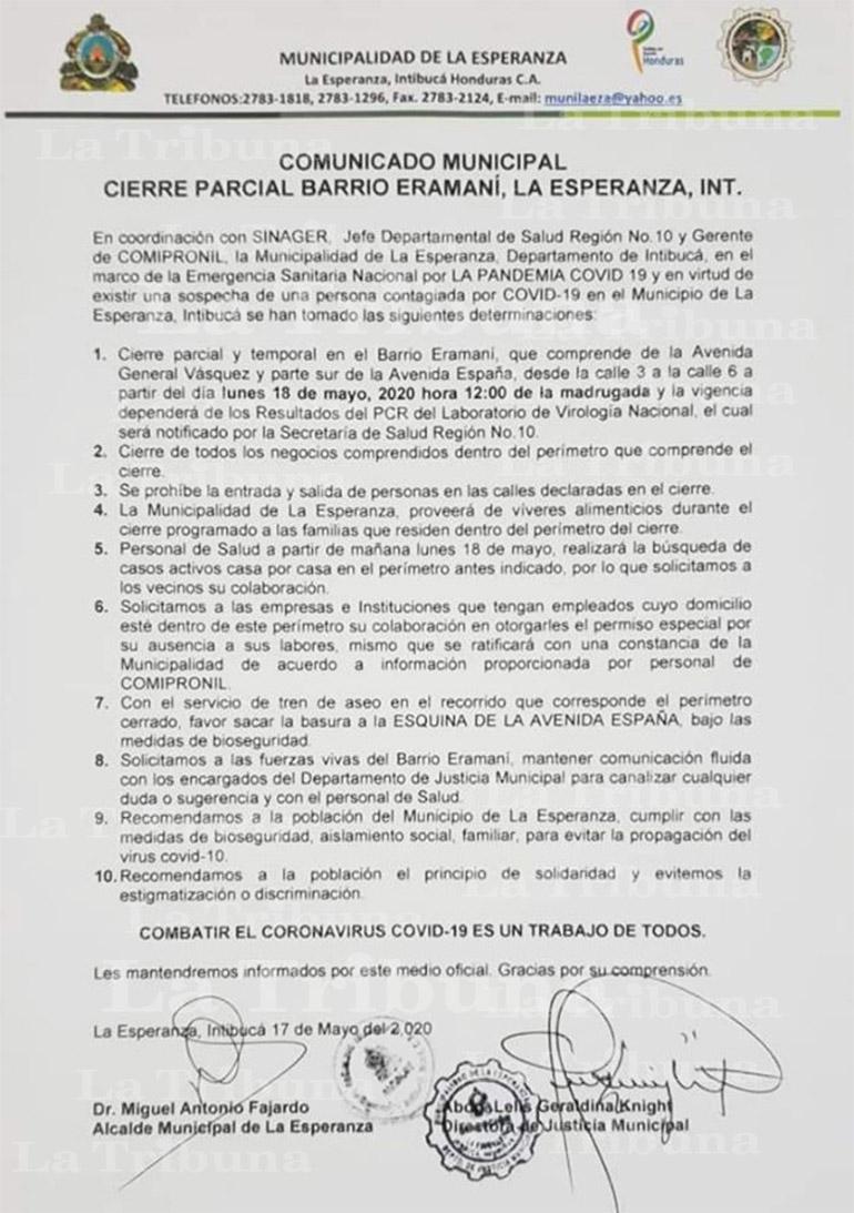 Alcaldía de La Esperanza, Intibucá ordena el cierre parcial de un barrio por sospechas de COVID-19