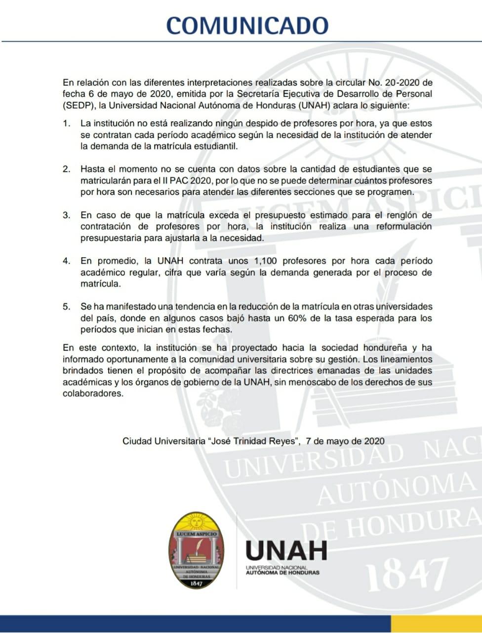 UNAH aclara que 'no ha realizado, ni está realizando' despidos de maestros por hora
