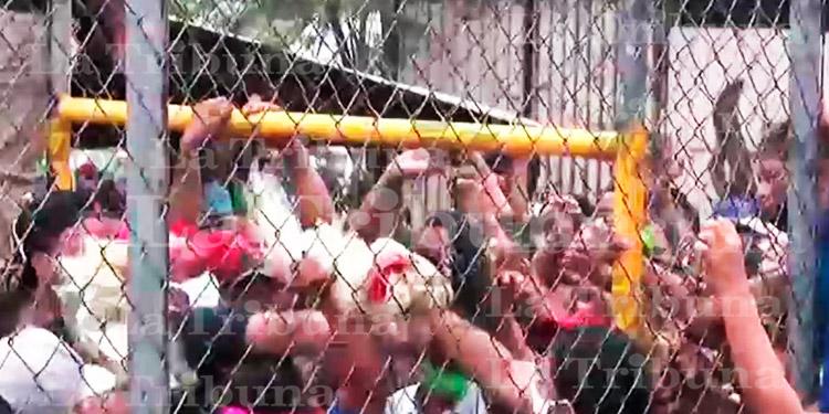 Capitalinos arman molotera en donación de gallinas (Video)
