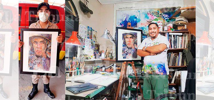 Bombero hondureño ya tiene en sus manos pintura de acuarelista Sampedrano