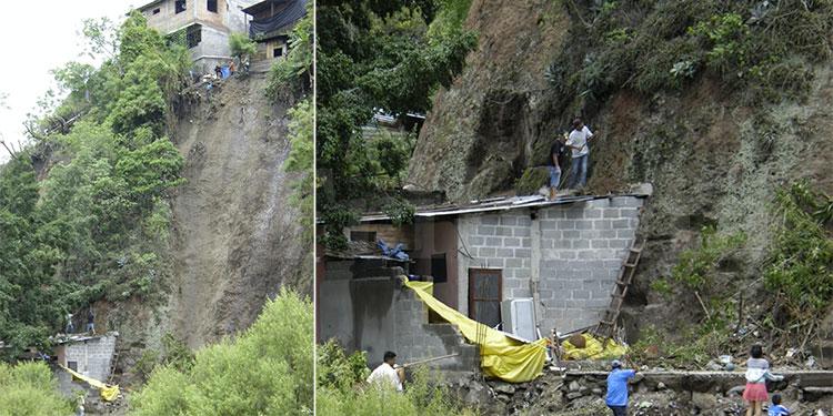 Casas a punto de caer y reportan 2 víctimas por lluvias en el país