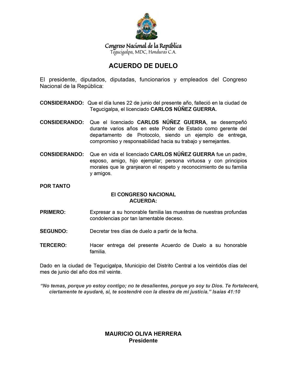Fallece jefe de protocolo del CN