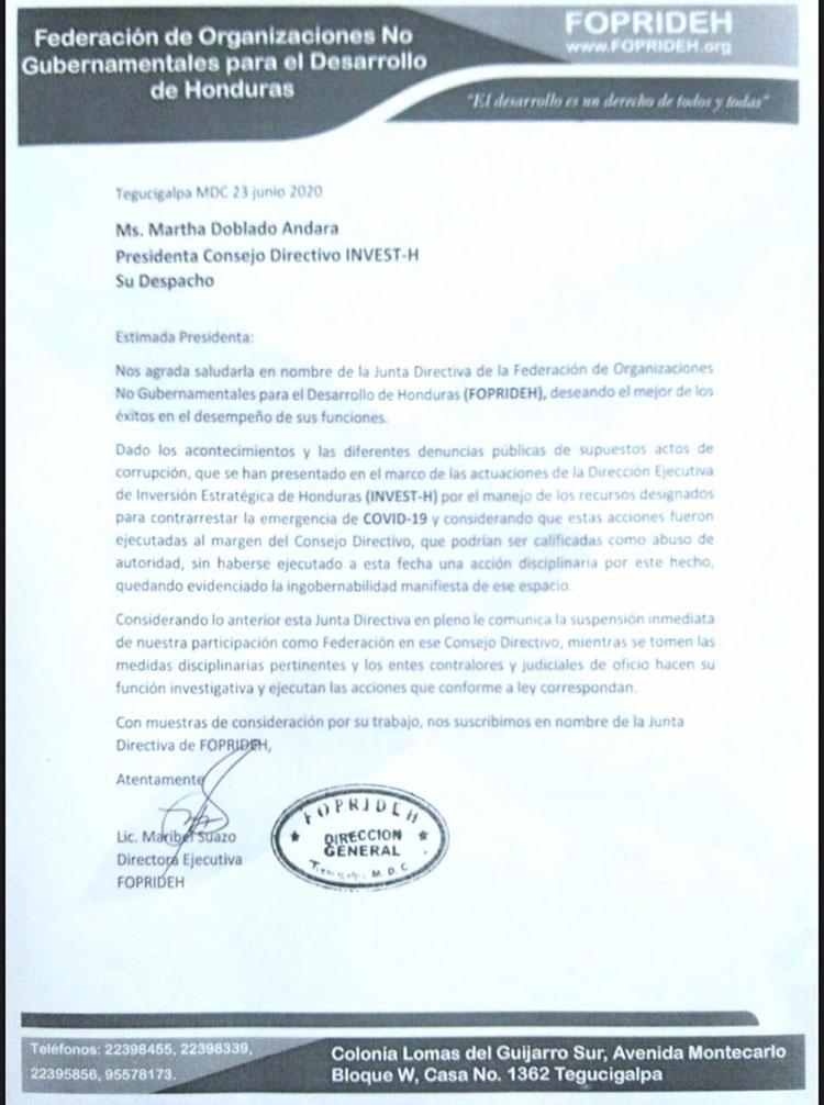 Foprideh suspende su participación en Invest-H