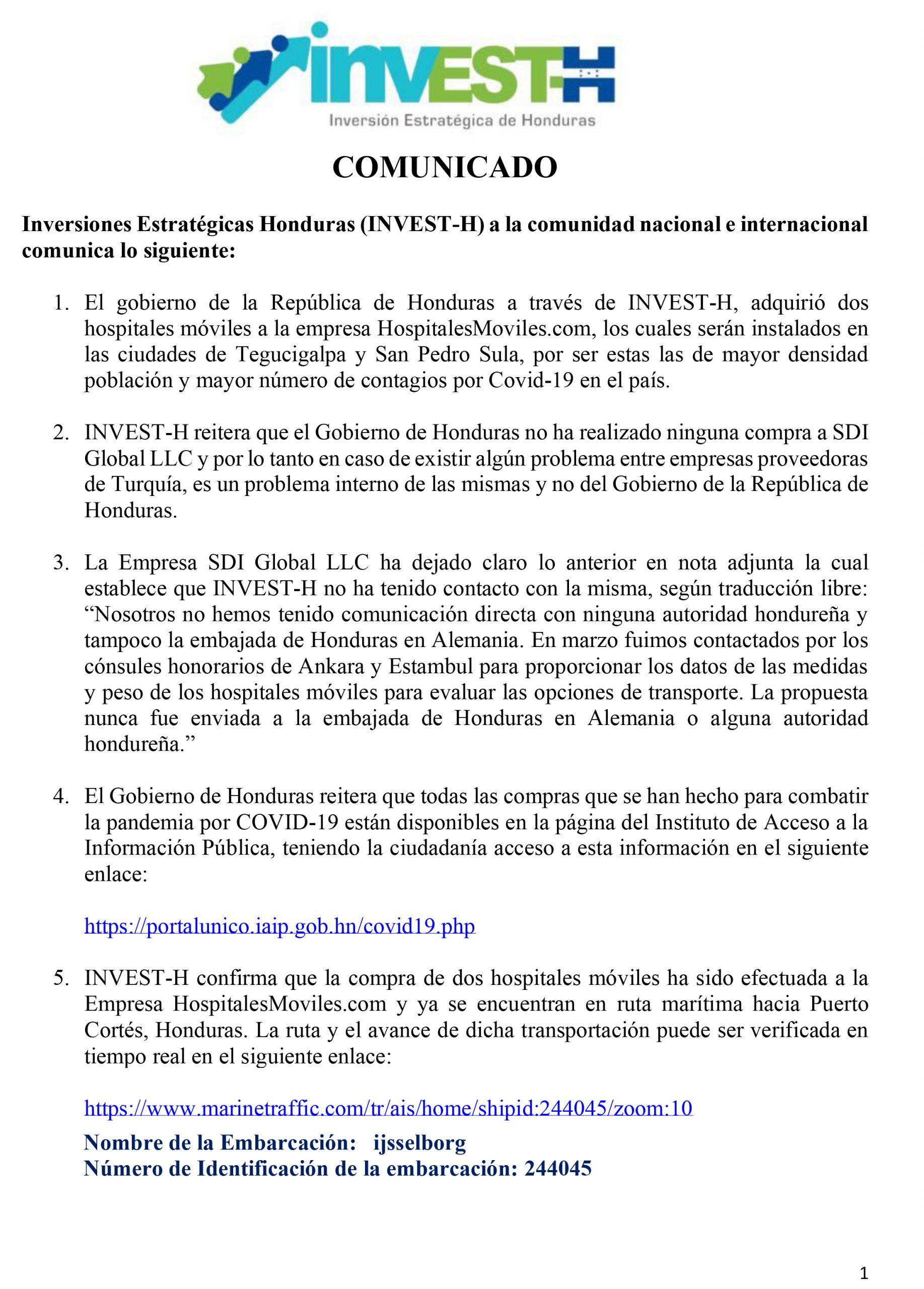 NVEST-H dice que hospitales móviles están en ruta marítima a Honduras