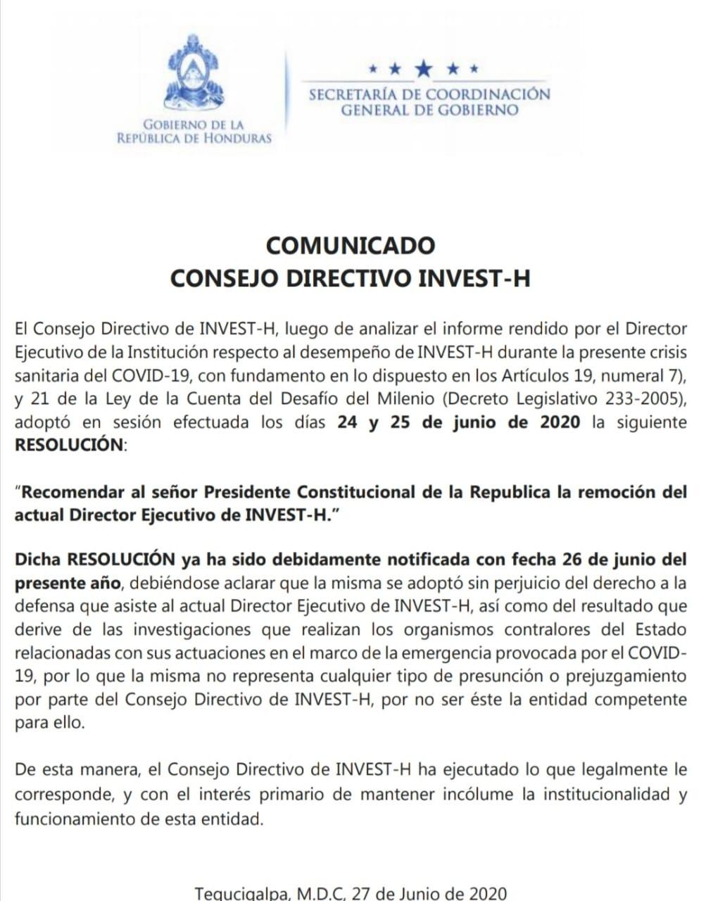 Consejo Directivo de Invest-H pidió al presidente remoción de Bográn