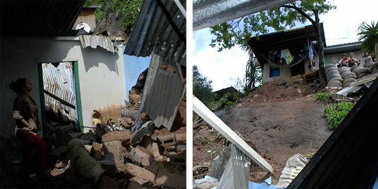 Un muro de bloques de concreto cayó sobre una vivienda, en la colonia Los Pinos de Tegucigalpa.