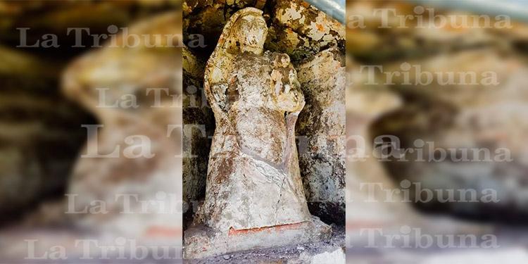 Descubren otra imagen religiosa oculta en antigua iglesia católica de Sensenti, Ocotepeque