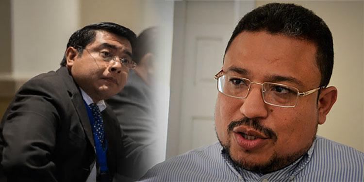 El viceministro de Trabajo, Olvin Villalobos; y el secretario del Fonac, Omar Rivera.