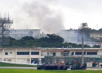Arde almacén de sustancias peligrosas en base EEUU en Japón