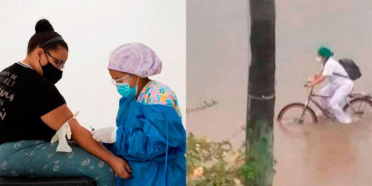 Enfermera cruza en bicicleta fuerte inundación para trabajar durante la pandemia (Video)