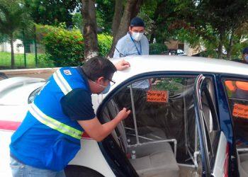 Verifican bioseguridad en taxis de Choluteca