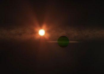 Representación artística del exoplaneta AU Mic b y su estrella. EFE/NASA's Goddard Space Flight Center/Chris Smith (USRA)