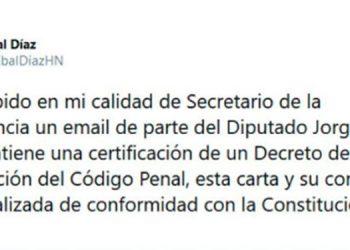 Cálix manda certificación de abrogación a Ejecutivo para publicar en La Gaceta
