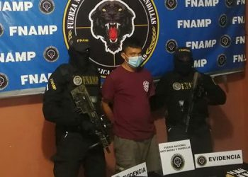 Agentes de la FNAMP detuvieron en la comunidad de Pavana a Rolando Gilberto Flores Ortiz.