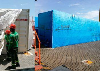 Ya se cumplió una semana desde que arribaron al país los 78 contenedores que traen los dos primeros hospitales móviles.