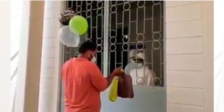 Hijos llevan sorpresa de cumpleaños a su padre con COVID-19 en SPS (Video)