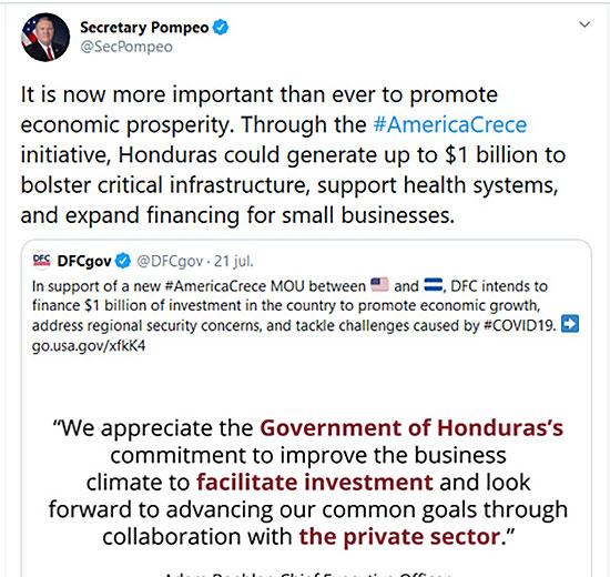 Secretario Pompeo: Honduras podría generar hasta $1 mil  millones para reforzar la infraestructura crítica