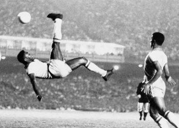 Gol de Pelé el 2 de junio de 1965 en el Maracaná en el amistoso contra Bélgica, ante 175.000 espectadores.