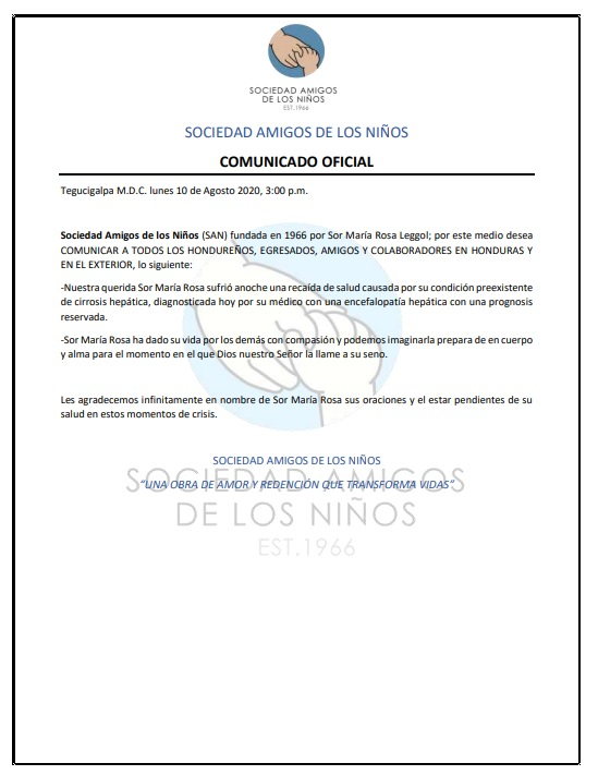 Sor María Rosa sufre recaída en su salud