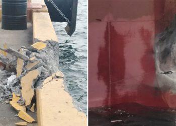 Este incidente poco usual en el puerto preliminarmente se sabe ocurrió cuando el carguero perdió el control.