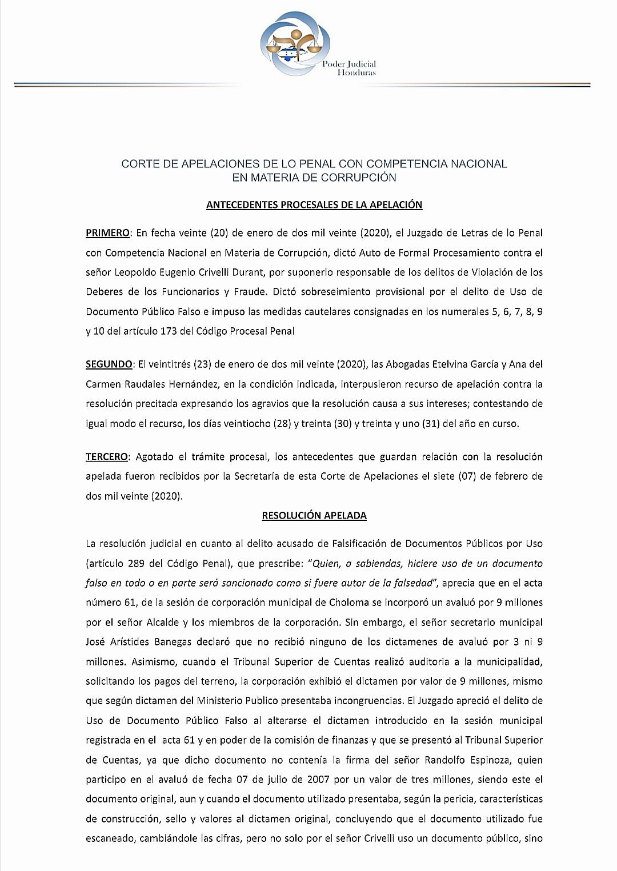 Confirman auto de formal procesamiento y suspensión para alcalde de Choloma