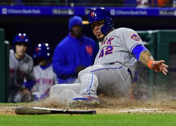 PHILADELPHIA, PA - APRIL 15: Wilson Ramos #40 of the New York Mets scores during the third inning at Citizens Bank Park on April 15, 2019 in Philadelphia, Pennsylvania. All players are wearing the number 42 in honor of Jackie Robinson Day. The Mets defeated the Phillies 7-6 in 11 innings.   Corey Perrine/Getty Images/AFP