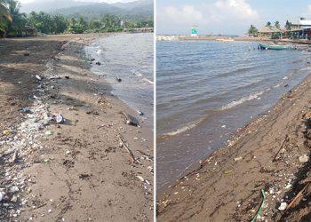 Personal de aseo ha ido limpiando los desechos acumulados en la playa, arrastrados desde Guatemala, por el cauce del río Motagua.