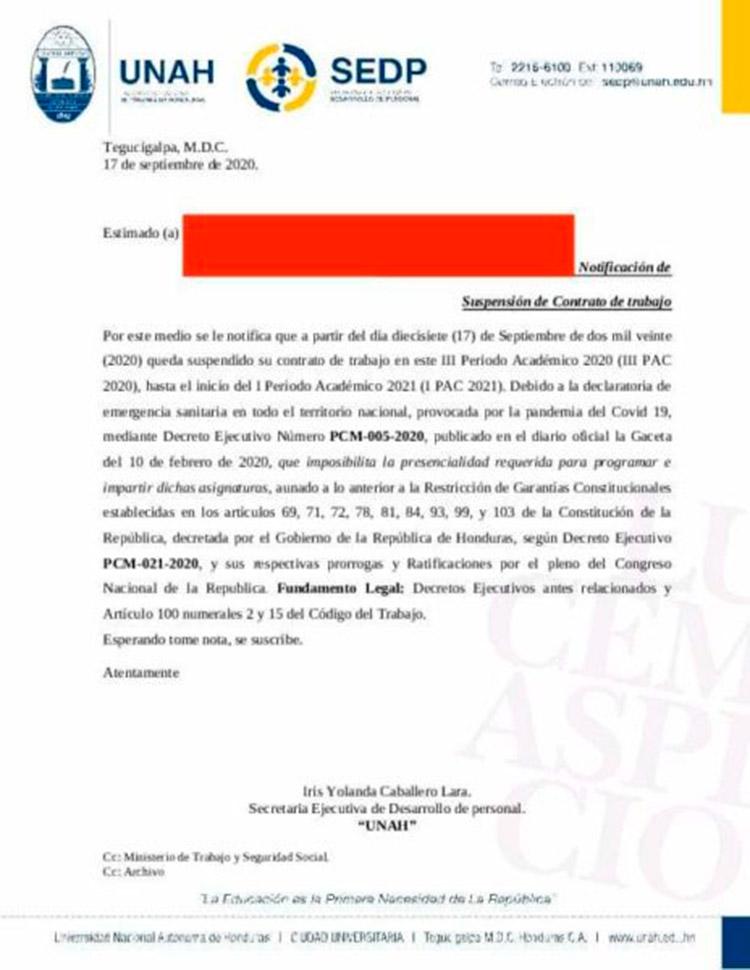 Denuncia sindicato: UNAH suspende 400 docentes por contrato