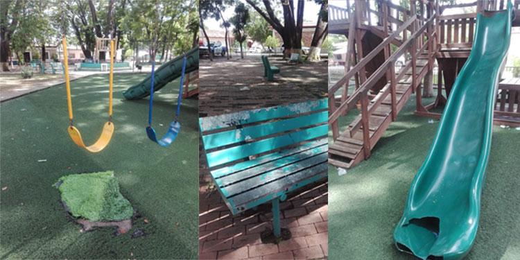 table deterioro en el parque de Goascorán