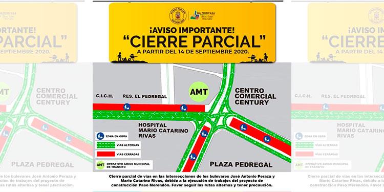 Municipalidad informa de cierre de calles en SPS