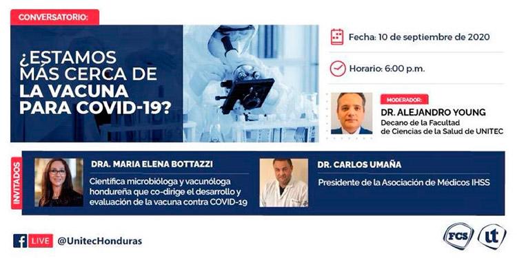 Destacados hondureños participarán en conversatorio '¿Estamos más cerca de la vacuna para COVID-19?'
