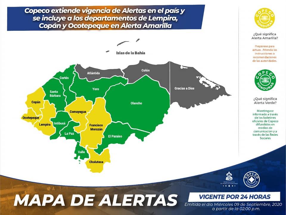 Copeco: Alerta amarilla para 6 departamentos y verde para 8 por las lluvias