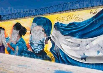 Vandalizan mural 'Héroes de la patria en tiempos del COVID-19' en Tegucigalpa
