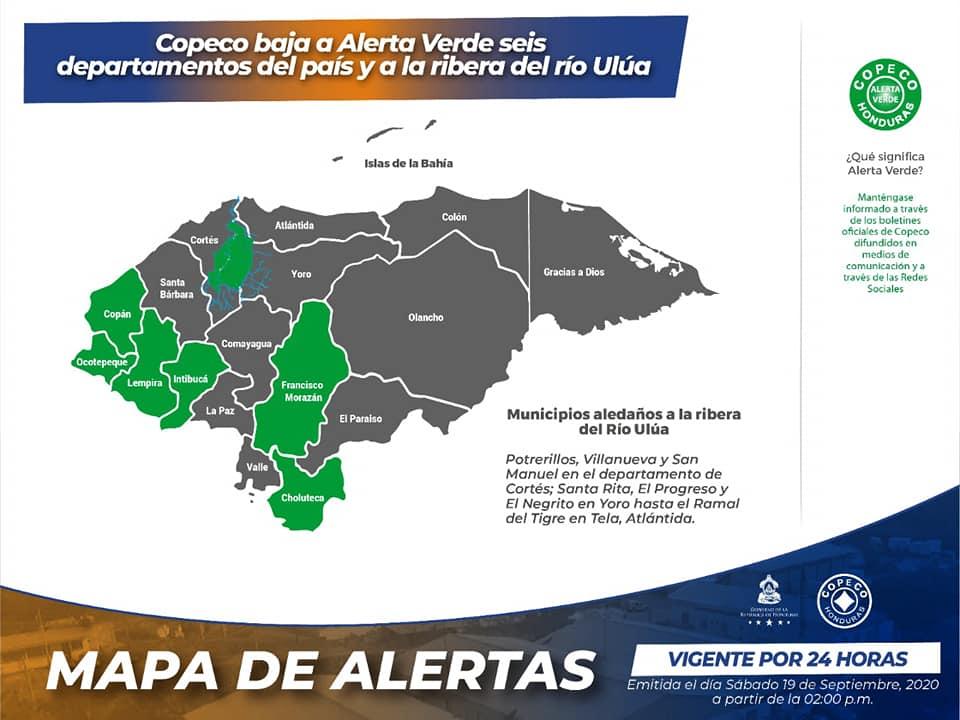 Bajan a alerta verde seis departamentos de Honduras y ribera del río Ulúa