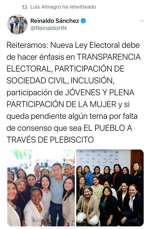 Secretario general de OEA comparte visión de Reinaldo Sánchez sobre nueva Ley Electoral