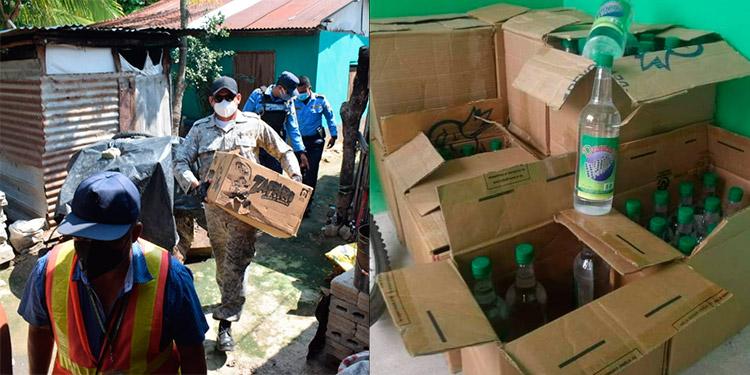 Desde el martes, autoridades municipales de Choloma prohibieron el consumo de alcohol, por lo que se han realizado decomisos y Fiscalía y Salud analizan la bebida (foto inserta).