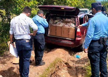 El vehículo abandonado con la mercadería de contrabando está a nombre de Luis Mauricio Berríos Castellón.