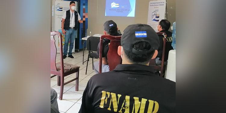 En las jornadas, el personal de la FNAMP conoció sobre el papel del Conadeh en defensa de los derechos humanos, procedimientos para hacer una denuncia y el uso adecuado de la fuerza.